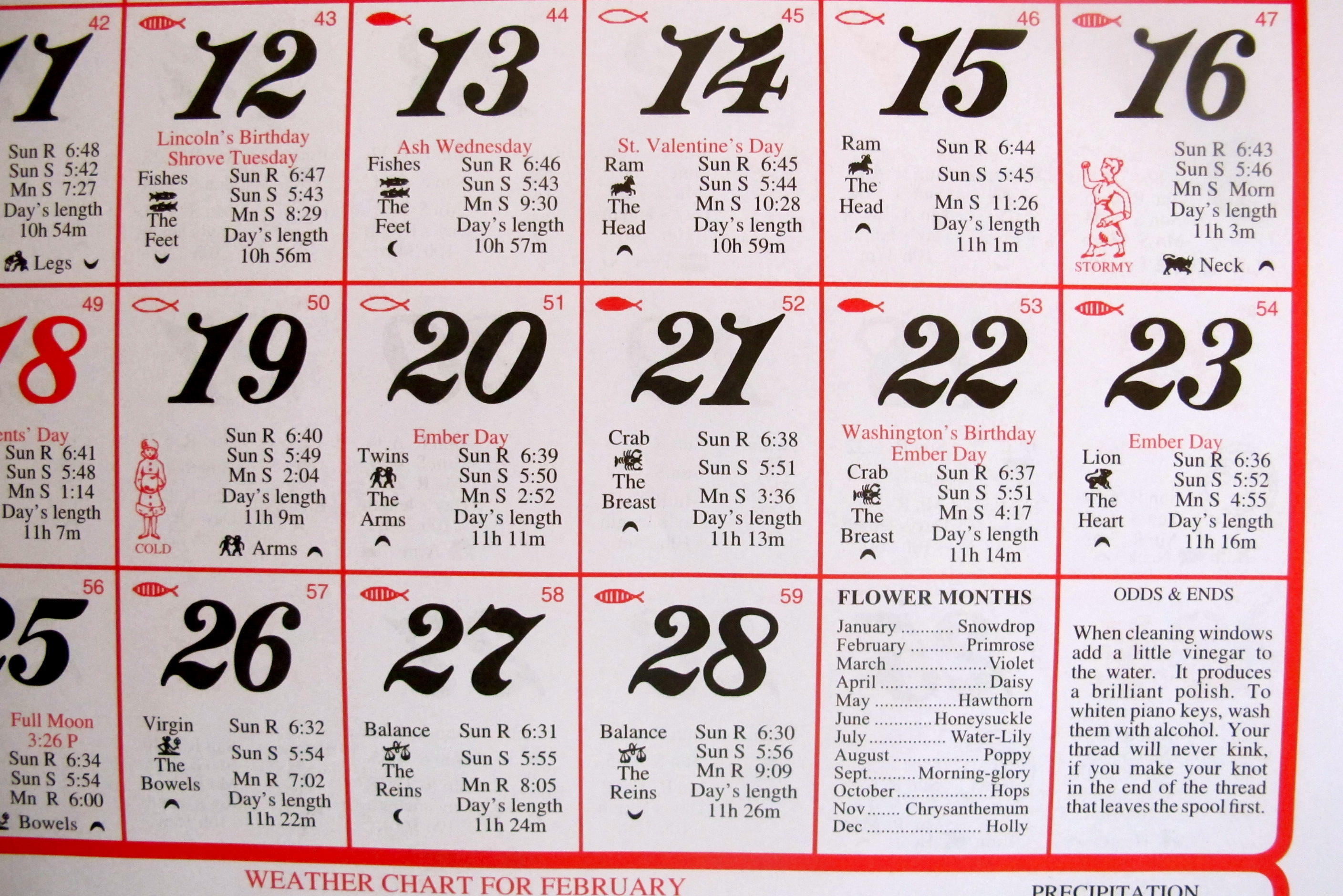 Almanac calendar feather by feather for Farmers almanac fishing calendar