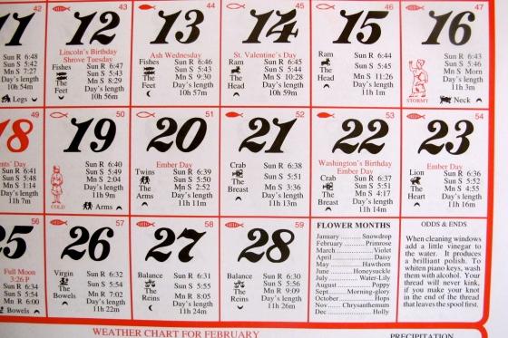 Almanac Calendar – Feather By Feather